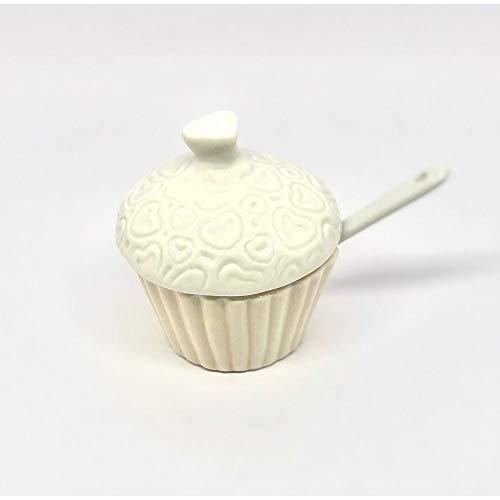 Publilancio srl Zuccheriera in Porcellana a Forma di Cupcake con Cuori BOMBONIERA