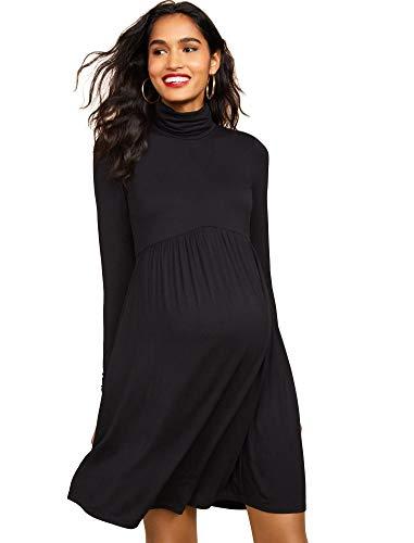Motherhood Maternity Women's Maternity Long Sleeve Turtleneck Babydoll Dress, Black, Large