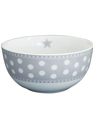 Krasilnikoff - Schale, Schüssel - Happy Bowl - Dots, Punkte - weiß, grau - Porzellan - Ø14 x H7 cm - ca. 450 ml