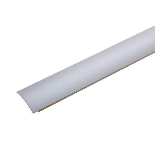 acerto 32004 Übergangsprofil aus Aluminium selbstklebend * 28 mm Breit * 1,5 mm Stark Robust * Kratzfest | Übergangsleiste Teppich Laminat & Parkett | Alu Übergangsschiene zum Kleben (100 cm, silber)