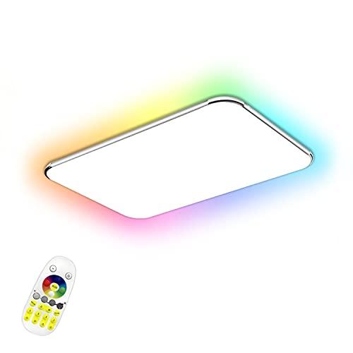 48W Regulable RGB Ultradelgado LED luz de Techo Moderna Lámpara de Techo Dormitorio Cocina Sala de Estar Comedor lámparas Color Plateado [Clase de eficiencia energética A++]