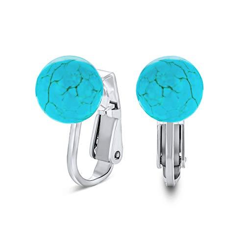 Simple azul comprimir turquesa piedra preciosa perla redondo bola clip en pendientes 925 plata de ley 8mm diciembre piedra de nacimiento