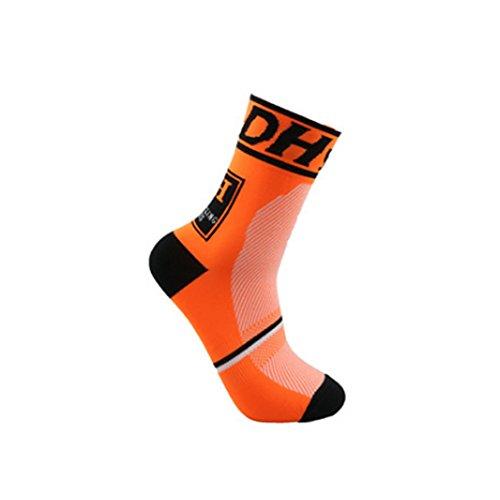 Outdoor Sports Activities Socks Free Size Nylon Breathable Deodorant Sweat Anti-friction UK 3-12/EUR 36-45 (Orange)