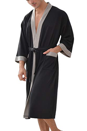 Albornoz Hombre Ducha Waffle Bata de Baño Kimono Ropa De