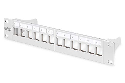 DIGITUS Patch-Panel Modular - 12 Ports - 10-Zoll Rack-Montage 1HE - Keystone-Modul Verteiler-Feld - Geschirmt - Grau