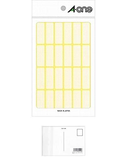 エーワン フリーラベル 24面 15シート 06003 【× 4 パック 】 + 画材屋ドットコム ポストカードA