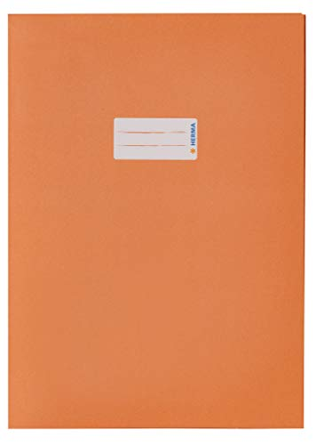 HERMA Sobres de papel 5534, DIN A4, fundas para cuadernos con espacio para etiquetas, de papel reciclado resistente y colores intensos, juego de 10 protectores para cuadernos, color naranja