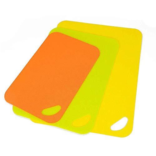 Flexibele plastic snijplank, fruit snijplank, plastic snijplank, keuken creatief snijden fruitschaal (set van drie)