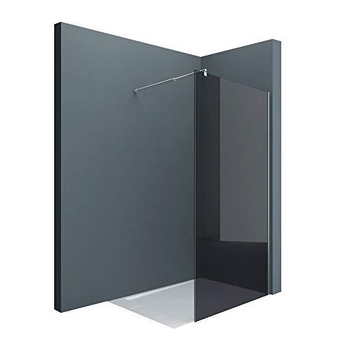 sogood Luxus Duschwand Duschabtrennung dunkelgraues Glas Bremen1VG 120x200 Walk-In Dusche mit Stabilisator aus Echtglas 8mm ESG-Sicherheitsglas inkl. Nanobeschichtung