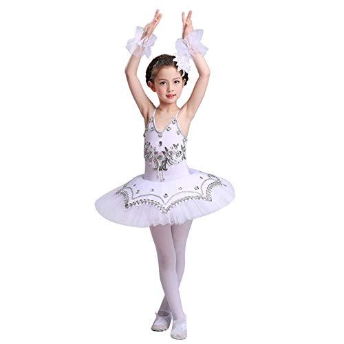 Yudesun Ragazze Danza Paillettes Ballerina Costumi - Balletto Body Principessa Sport Costumi tutù Abito Ginnastica Spettacolo Gonna,Bianco,130-140cm