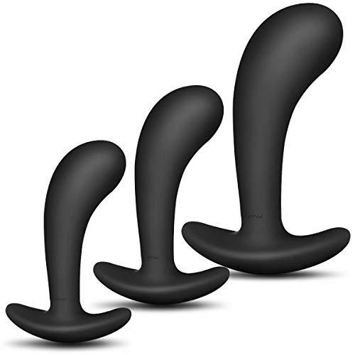 Enlove Juego de tapones anales de silicona Pequeño Mediano Grande con desgaste Fetiche exterior Masturbación Anal Butt Plug Tapones anales BDSM Bondage Juguetes sexuales para hombres Mujeres 3 piezas