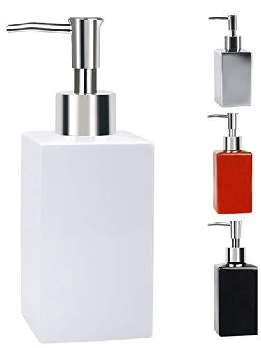 Spirella Seifenspender Quadro Porzellan Flüssigseifen-Spender 300ml Weiß