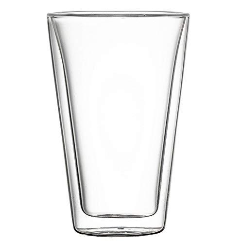 MxZas Drinkbekers, eenvoudige muur, isolatieglazen koffiekopjes, dubbelwandige thermo-geïsoleerde glazen beker, perfect voor latte twee