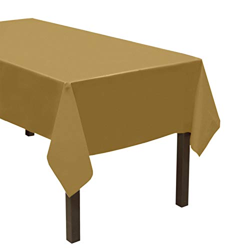 "Party Essentials Heavy Duty Plastic Table Cover Available in 44 Colors, 54"" x 108"", Metallic Gold"