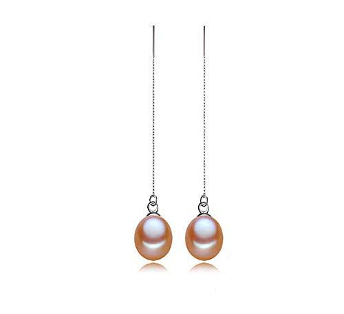 Rakumi 7-8mm Oval Lavender Freshwater Pearl Dangle Earrings Women Earrings Threader Dangle Drop Earrings