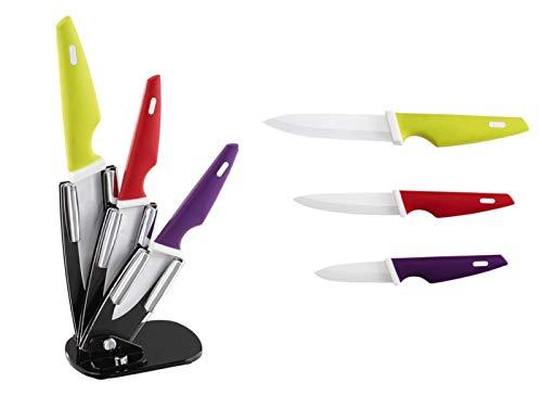 Messerblock mit Messer Messerset 3 teilig Keramikmesser Set (Küchenmesser, Kochmesser, Schälmesser, Bunte Griffe)