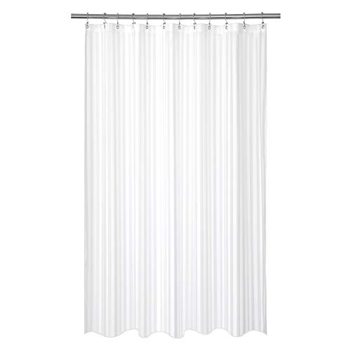 Barossa Design Waterproof Fabric Shower Curtain or Liner 84 inches Extra Long, Machine Washable, Weighted Bottom, Hotel Style with White Damask Striped, 72x84