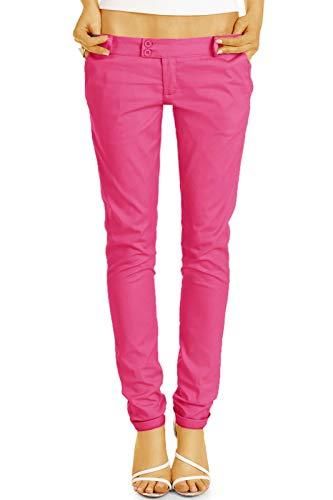bestyledberlin BE Styled Damen Chinos - Stoffhosen, röhrige hüftige Passform, mit Stretch h15a 40/L pink