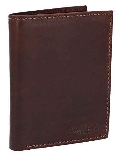 Gusti Leder studio'Macon' portamonete portafoglio banconote monete carte vintage vera pelle elegante retrò marrone scuro 2A132-22-6