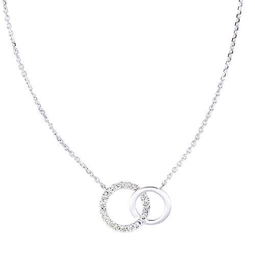 Naava Women 9ct (375) White Diamond Pendant Necklace of Length 46cm PNE20029W