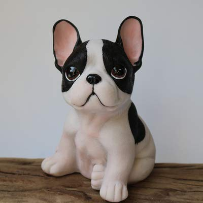 Auralto Simulation Dog Statue French Bulldog Figurine Collection Ornament Resin Crafts Home Furnishings Desktop Decoration GJXNB (Color : White Black)