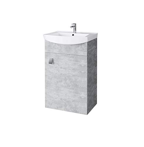 Planetmöbel Waschbecken mit Waschbeckenunterschrank/Waschtisch-Unterschrank 44cm Gäste Bad WC (Beton)