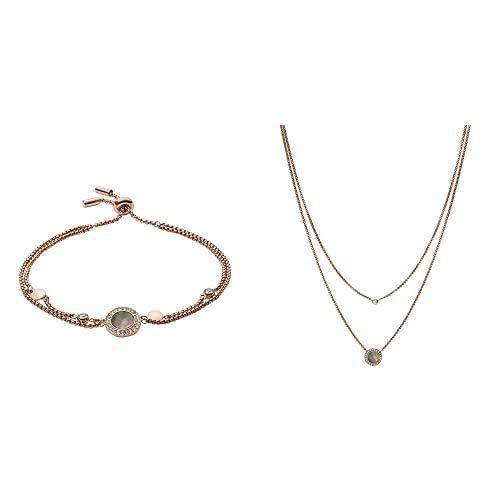Fossil Pulsera para Mujer JF02951791 + Collar para Mujer JF02953791