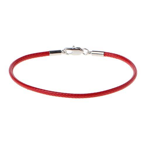 Xuniu Handmade Armband, geflochtenes Leder Armband Armband mit Karabinerverschluss Charm Beads DIY Schmuck rot
