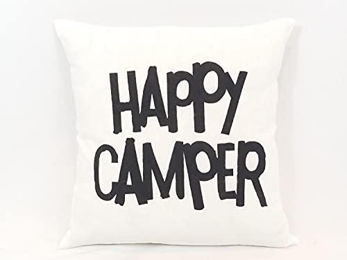 Funda de almohada Happy Camper personalizada funda de almohada de lona cuadrada para decoración de casa de campo, color blanco y negro