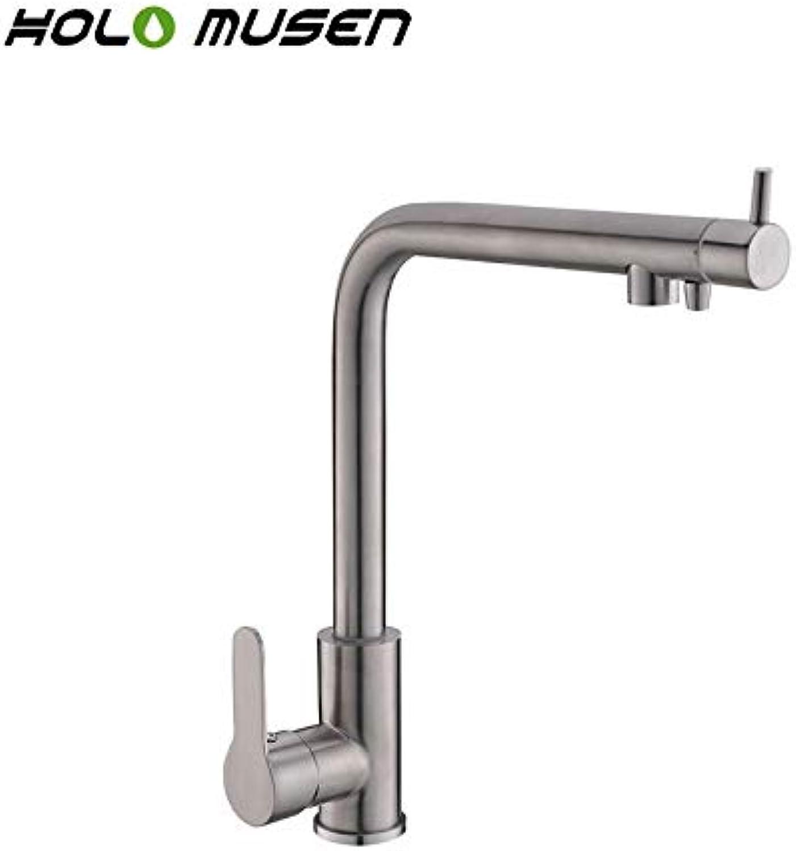 CZOOR 2 in 1 Wasserfilterhahn Edelstahl Küchenmischer Bleifrei Direkt Trinken Nickel Gebürstet Wasserfilter Küchenarmatur