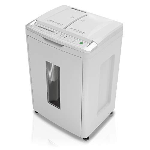 Shredcat 8285 Auto-Feed Aktenvernichter, 4 x 10 mm Partikelschnitt/Kreuzschnitt (bis 350 Blatt, Sicherheitsstufe P-4, DSGVO-konform, vernichtet auch Kreditkarten, Heftklammern, CDs/DVDs)