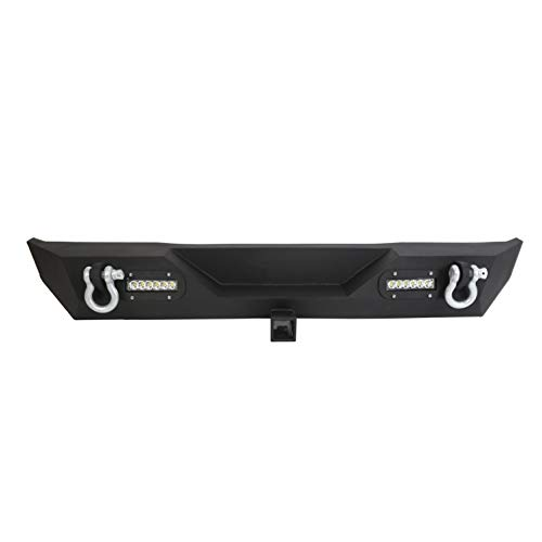 Rear Bumper w/ 2 LED Lights & 2' Hitch Receiver D Rings Compatible With 1987-2006 Jeep Wrangler YJ TJ