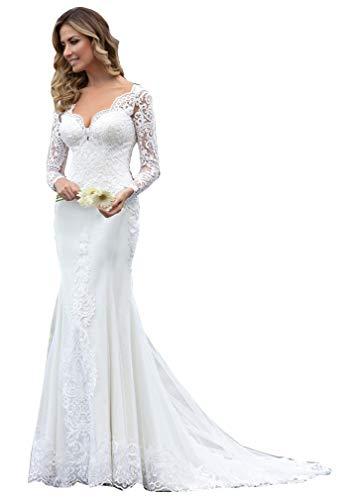 CGown Damen-Hochzeitskleid, mit herzförmigem Ausschnitt, Spitze, Meerjungfrauen-Design, mit langen Ärmeln, Tüll, Brautkleid Gr. 34, weiß