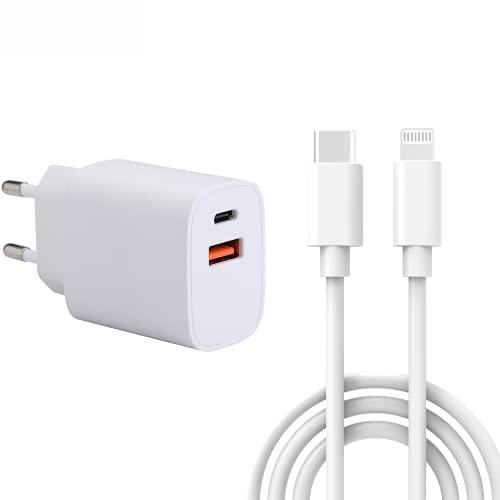 NK Cargador USB - Cargador con Salida USB y Tipo C, Carga rápida, 3 Metros, Pared Enchufe, Compatible con iPhone SE 2020/XS MAX/XR/X / 8 Plus, iPad, Blanco