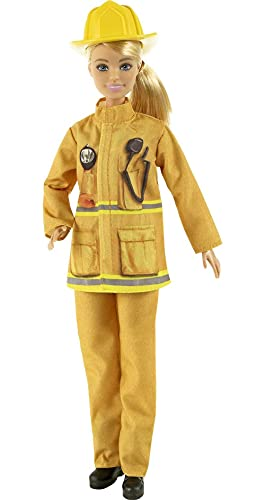 Barbie Firefighter Playset with Blonde Doll (12-in), Role-Play Clothing & Accessories: Extinguisher, Megaphone, Hydrant, Dalmatian Puppy, Great Gift for Ages 3 Years Old & Up