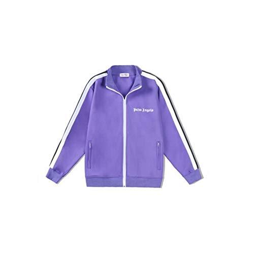 instand Angels Schwarz und Weiß Jacke Streifen Freizeitanzug Sportmantel Lange Hosen Mode Anzug Lila Gr. 36, farbe