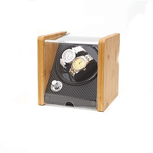 WRNM Cajas Giratorias para Relojes Caja De Almacenamiento De Lujo De Madera con Motor Silencioso para 2 Relojes De Pulsera