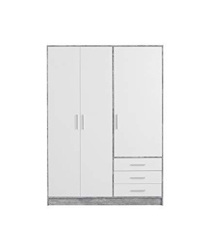 FORTE Jupiter Kleiderschrank 3-türig, 3 Schubkästen, Holz, beton + weiß, 144.6 x 60 x 200 cm
