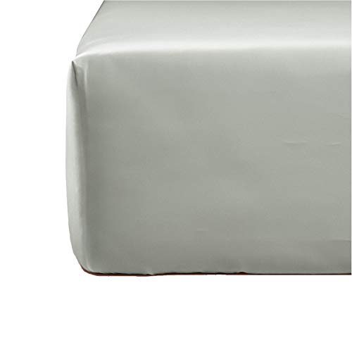 NORA HOME Sabana Bajera Ajustable Lisa 100% Algodon Saten Mercerizado de 300 Hilos Extra Suave (Gris, 155 x 200 x 30)