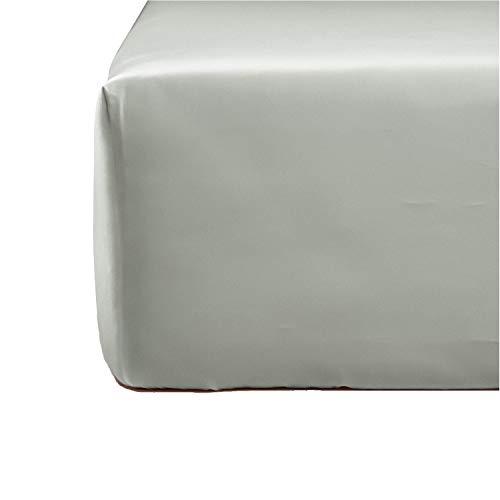 NORA HOME Sabana Bajera Ajustable Lisa 100% Algodon Saten Mercerizado de 300 Hilos Extra Suave (Gris, 95 x 200 x 30 cm)