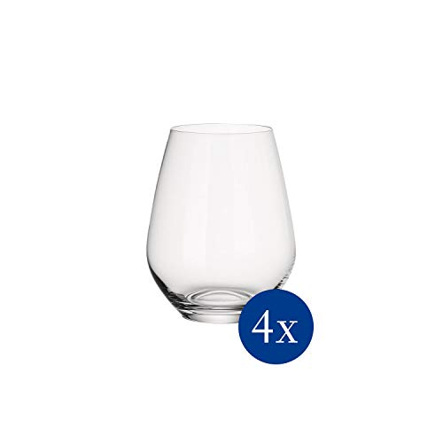 Villeroy & Boch - Ovid Wasserglas-Set, 4 tlg., 420 ml, 10,9 cm, Gläser für Kaltgetränke, bauchige Form, Kristallglas, spülmaschinengeeignet