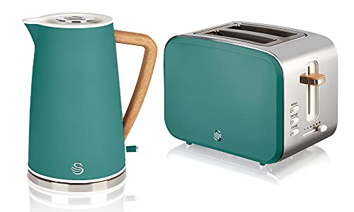 Swan Nordic Green Kitchen Set with 1.7 Litre Kettle and 2 Slice Toaster, Wood Effect and Soft Tough Matte Finish, Stainless Steel, STP2090GREN