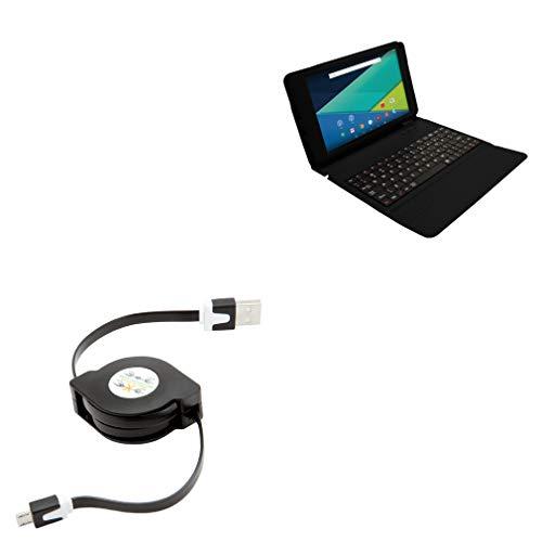 Visual Land Prestige Elite 9QL Cable, BoxWave [miniSync] Retractable, Portable Sync Cable for Visual Land Prestige Elite 9QL