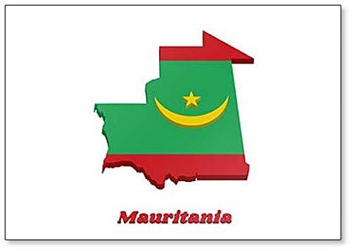 Kühlschrankmagnet, Motiv Karte & Flagge von Mauretanien