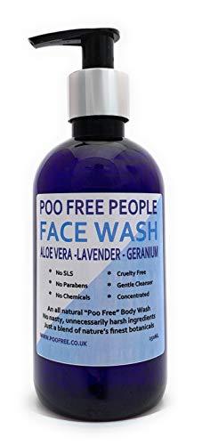 100% natuurlijk gezichtsgoed – aloë vera, lavendel & geranium – 250 ml – van Poo-vrij. Zonder sulfaat, parabenen, kleurstoffen of kunstmatige geurstoffen. Verwijdert onzuiverheden bij alle huidtypes.
