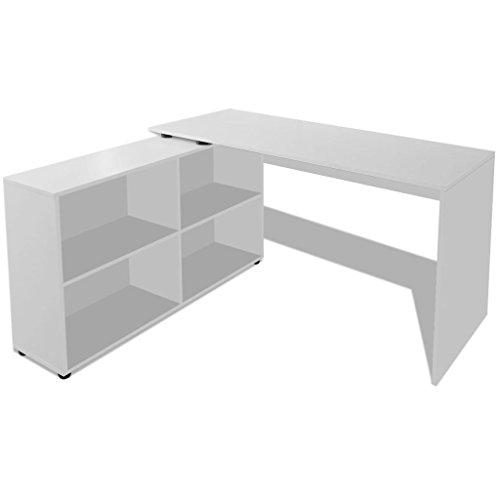 vidaXL Bureau d'Angle avec 4 Étagères Blanc Table de travail Table Ordinateur