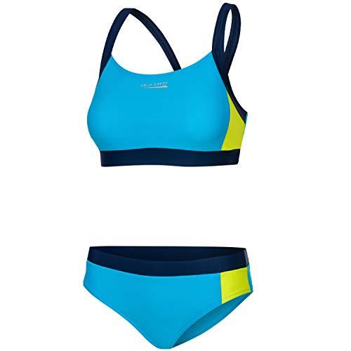 Aqua Speed Damen Sport Bikini Set | Zweiteiler | Two Piece Swimsuit Fitness | sportliche Bademode | Bustier Schwimmbikini | Surfen | Pool | Wassersport | Hellblau-Gelb, Gr. 38 | Naomi