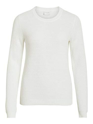 Vila Clothes Vichassa L/s Knit Top-Noos suéter, Marfil (Pristine), 42 (Talla del Fabricante: X-Large) para Mujer