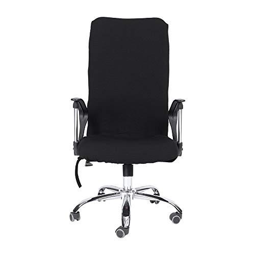 Hoes voor bureaustoel, stretch Universele hoes voor computerstoel Draaibare hoes met midden rugleuning L/M/S.(L-Zwart)