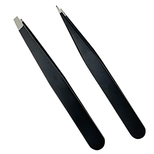 Smukdoo Pinzas para cejas, juego de pinzas de precisión para cejas, astillas, depilación encarnada para hombres y mujeres, 2 piezas